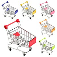 Mini Panier de shopping mignon Support de téléphone portable Porte-stylo Mini Supermarché Handcart Shopping Utility Cart Phone Holder