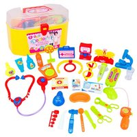 Wholesale Kid Science Kits - New 30Pcs Mini Kids Doctor Nurse Medical Role Plays Set Case Baby Kit Plastic Popular Decor Puzzle Science Educational Toy