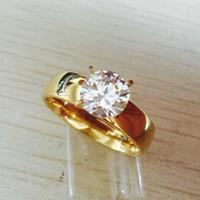 zirkon taşlı elmas yüzükler toptan satış-Büyük Zirkon CZ elmas 18 k altın kaplama 316L Paslanmaz Çelik düğün parmak yüzük erkekler kadınlar takı toptan sürü