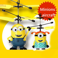 Wholesale Kids Mini Helicopters - 2016 Minion Despicable Me 2 Led light Mini Children's Remote Control Toy RC Helicopter Aircraft Quadcopter ar Drone induction Adult&Kids Toy