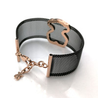 Wholesale black titanium bracelets - Jewelry New Fashion Luxury Women Stainless Steel Black and Silver hollow titanium mesh net wide band Bracelet mujer oso