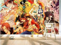 Wholesale Tv Backdrop Wall - Japanese anime 3D wallpaper One Piece Wall Mural Cartoon Wallpaper for walls photo wallpaper Kids Bedroom TV backdrop Room Decor