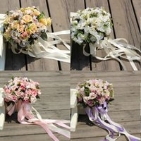 ingrosso bouquet di fantasia-Mazzi nuziali sbalorditivi Mazzi di fiori di nozze operati rossi, rosa, verdi, viola chiaro Nuovo arrivo di alta qualità