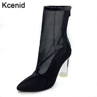 Wholesale Designer Summer Boots - Hot sale Fashion designer summer shoes mesh ankle boots pointed toe zip booties women sexy transparent perspex high heels shoes