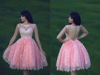Wholesale High School Prom Dresses - Sheer Neck Sweetheart Pink Graduation Dresses for Sixteen College High School Tulle Backless Sequins Rhinestone Short Homecoming Prom Gowns