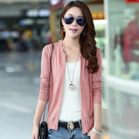 Wholesale Korean Women S Knitted Sweater - Wholesale-Thin spring autumn cardigan Korean women loose knit cardigan sweater hollow air-conditioned shirt sun shirt zipper
