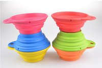 Wholesale Wholesale Collapsible Dog Water Bowl - Pet Dog bowl Floding Silicone Frisbee Collapsible Feeding Water Feeder Travel Bowl Dish Cats bowl Dog Supplies 6 Colors