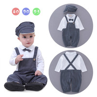 Wholesale Toddler Boy Plaid Rompers - Baby Clothing Autumn 2017 Infant Baby Plaid Striped Overalls Rompers Toddler Fashion Gentleman Jumpsuits Boy Casual Romper Kids Clothes