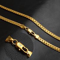 flache schlange kette gold männer groihandel-Mode 18 Karat Gold Überzogene Halsketten Schmuck Frauen Männer Flache Curb Schlangenkette Halsketten Geschenk 5mm 20in