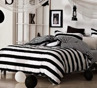 Wholesale Queen Suite - Cotton classic black and white striped Plaid suite bedding set homme Sheet Pillowcase Duvet Cover Sets Free Shipping