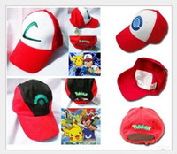 Wholesale Winter Style Baseball Hats - 4 style Poke Ash Ketchum Trainer Hat Cosplay Costume Cap Adult Mesh Hat Trucker hat caps baseball hat