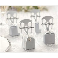 Wholesale Wedding Wrap Chair - 100 Pcs Silver Chair Bomboniere Candy Box Wedding Favor Gift Hot with Ribbon Choose Color or Gold