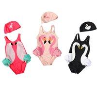 Wholesale Baby Cap Girl S - Fashion Baby Swimwear INS Baby Swimwear Kids Swan Flamingo Swimsuits Black Swan Pink Flamingo Swimsuit With CAP S-4XL 4 colors D884 20