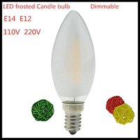 Wholesale E12 Frosted - 1X NEW 2W 4W 6W E14 E12 110V 220V dimmable LED Filament Candle Bulb frosted polish lamp Replace Incandescent Light Energy Saving