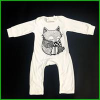 kış için bebek gömlekçiliği toptan satış-Kış bebek erkek tulum uzun pantolon kollu beyaz renk bebek tulumlar tilki baskı o-boyun çocuklar yürüyor bodysuits kıyafetler hızlı ücretsiz kargo