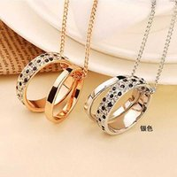 Wholesale Double Chain Circle Gold Necklace - wholesale and retail women ring necklace made of zinc alloy and crystal women double ring necklace