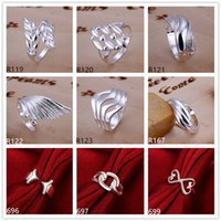 Wholesale Directed Bands - Brand new high grade sterling silver ring 10 pieces mixed style,fashion 925 silver ring GTR4 factory direct sale