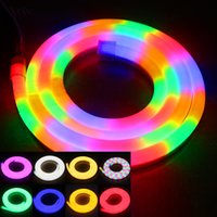 Wholesale Led Soft Neon - 50Meters LED flexible neon lights soft tube led neon strip 80leds m 110V 220V RGB warm white pure white IP65 waterproof free shipping