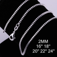 Wholesale Men 925 Sterling Silver Chains - wholesale 2016 pericing hot sale fashion 925 sterling silver Box chain vintage necklace hot sale 1MM 16-24 inch 1pc necklace for women men