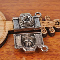 Wholesale Camera Charms For Bracelets - Hualu 7231 100 Pieces 21*15mm 3D camera Charms Tibetan Silver DIY Jewelry Pendant Making Fingding For necklace Bracelet Earring Spacer Beads