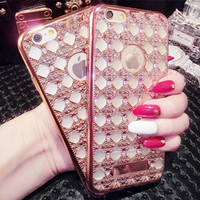 Wholesale Cell Phone Cases Rhinestones - Electroplate Rhinestone Soft Cell Phones Cases For iphone 6 6s Plus TPU OPP Package Free Shipping