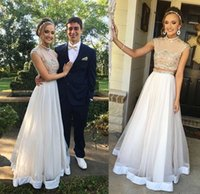 Wholesale American Made Blue - 2017 Two Piece Prom Dresses Arabic American Aso Ebi High Neck Cap Sleeves Beaded Bodice Fiesta Floor Length Evening Party Gowns