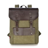 Wholesale Army Style Camping Backpack - Wholesale-Men Backpack High Quality Leather Canvas Bag Backpack for Men Large Capacity Travel Bag Outdoor Sport Hiking Camping Backpack
