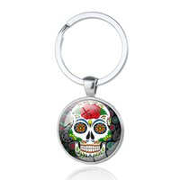 Wholesale Skull Keychains - Skullcandy Key Rings Skeleton Domed Crystal Glass Cabochon Halloween Gifts Skull Car Key Bag Accessories Keychains Wholesale