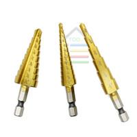 Wholesale titanium cone - New 3pcs HSS Hex Titanium Straight Flute Cone Core Step Drill Bits 3 16-1 2,1 4-3 4,1 8-1 2 Wood Drilling Hole SAW order<$18no track