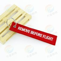 Wholesale Remove Before Flight Keychain - 100pcs New 2015 Woven Durable Embroidery Key ring Luggage Lable Tag Zipper Pull Remove Before Flight Keychain K00004