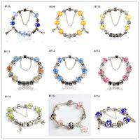 Wholesale Love Glass Model - LOVE flower Tibetan silver glass beads Charm Bracelet,burst models women's DIY European Beads bracelet 6 pieces a lot mixed style GTPDB12
