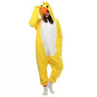 Wholesale Adult Duck Pajamas - Japan Halloween Party Costume Lovely Yellow Duck Onesie Pajamas Costume Unisex Adult One-piece Sleepwear Onesie Tops Party Cartoon jumpsuit