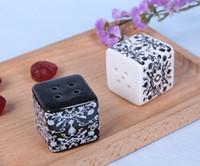 "Wholesale Ceramic Salt Pot - New ""Damask"" Ceramic Salt and Pepper Shakers Pepper Pot Caste Shaker Salt Seasoning Pot Wedding Gift"