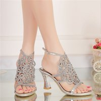 Wholesale Sandals Bridal Open Toe Dress - 2016 Women Summer Sandals High Quality Silver Rhinestone Bridal Dress Sandals For Summer Open Toe Sparkling Wedidng Party Shoes