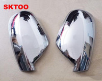 Wholesale Car Side Mirror Accessories - Fit For 2004-2012 Peugeot 307 CC SW 407 Door Side Wing Mirror Chrome Cover Rear View Cap Accessories 2pcs per Set Car Stying