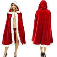 Wholesale Ladies Santa Velvet Dress - Sexy Long Christmas Suits Costume Red Hats Christmas Cloak Party Dress Up Women Christmas Lady Clothes Cosplay Velvet Shawl Cloack