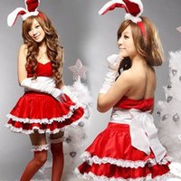 Wholesale Ladies Santa Velvet Dress - Merry Christmas Day Gift Lady Women Cosplay dress for special time Green White Red Santa Claus Velvet Costume Outfit Fancy Xmas Dress set