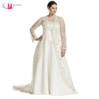 Wholesale Strapless Big Long Wedding Dresses - Sweep Train Satin Strapless Plus Size Wedding Dress With Long Sleeve Cloak Big Women vestidos de noiva
