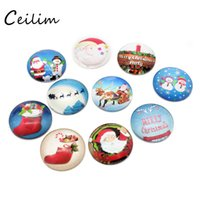 Wholesale Glass Making Supplies - DIY Christmas jewelry 25mm Christmas glass charms different cartoon charms for jewelry making supplies fit handmade necklace family gifts