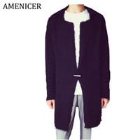 Wholesale Korean Fashion Men S Cardigan - Fall-Hot Sale 2016 Men Trench Korean Cardigan Turndown Collar Single Button Solid Casual Fashion Casaco Masculino Longo 2 Color