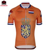 turuncu takım bisiklet formaları toptan satış-Erkek bisiklet jersey Hollanda yeni turuncu bisiklet sürme pro yarış takımı bisiklet giyim jersey özel bisiklet forması özel