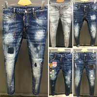 Wholesale Biker Designs - New arrival design men ripped DSQ jeans famous brand biker dsq2 jeans men top quality