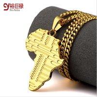 Wholesale Thick Asian Women - 2016 New Explosion models 18K Gold thick plated black street pop Africa Map Pendant Necklace hip hop jewelry Cuban Chain for Women men