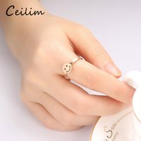 Wholesale cute midi rings resale online - 2017 new fashion high quality stainless steel rings for women korean cute face rose gold midi rings for women as gift best friend