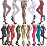 suni deri toptan satış-Kadın Faux Deri Yüksek Bel Skinny Tayt Pantolon Pantolon Streç Uzun Pantolon Ince Pantolon 20 Renkler OOA3203