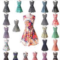 free shipping clothing al por mayor-La más nueva moda vestido ocasional de las mujeres más el tamaño barato vestido de China 19 diseños de ropa de mujer sin mangas vestido Summe envío gratis