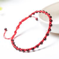 красный ножной браслет оптовых-Корейская версия Fashion Garnet Red Rope Anklet Женские модели Простые украшения Подарки на день рождения