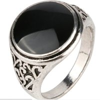 Wholesale Obsidian Gemstone - jewelry vintage alloy Carving Imitation gemstone ring obsidian ring big wide surface Black gem Cabochon Onyx agate rings for women 2017 j216