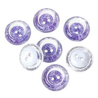 Wholesale Sewing Buttons Purple - 21mm Transparent, multi section printed purple flowers round shape 2-hole sewing button sewing notions&tools acrylic buttons #00481#