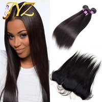 Wholesale full hair weave - Brazillian Straight Hair Weaves With Full Lace Frontal Closure Free Middle 3 Part 13x4 Lace Frontal With Virgin Human Hair Bundles 4Pcs Lot